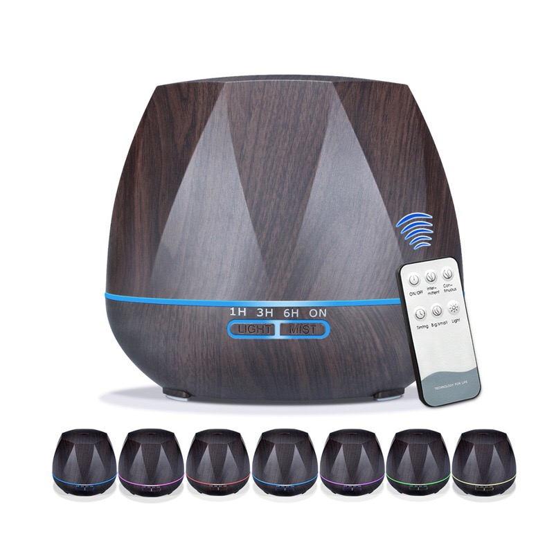 500ML Aromatherapy Essential Oil Aroma Diffuser With Remote Control 7 Color LED Lights For Home Ultrasonic Air Aroma Humidifier aroma oil diffuser ultrasonic humidifier remote control 10s 2h 4h timer 500ml tank lamp wood ultrasonic humidifiers for home