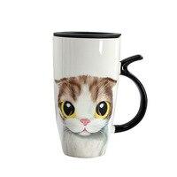 550ml cute cat mug creative ceramic coffee cup large capacity cartoon coffee cup student girl gift high temperature