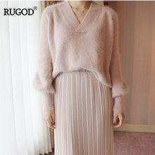 Rugod элегантный сладкий розовый желтый норки кашемировый свитер