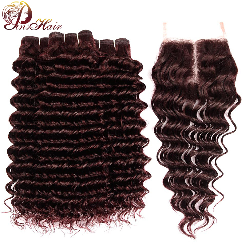 Pinshair Burgundy Deep Wave Bundles With Closure Dark 99J Colored Peruvian Human Hair Bundles With Closure Non-Remy Hair Bundles