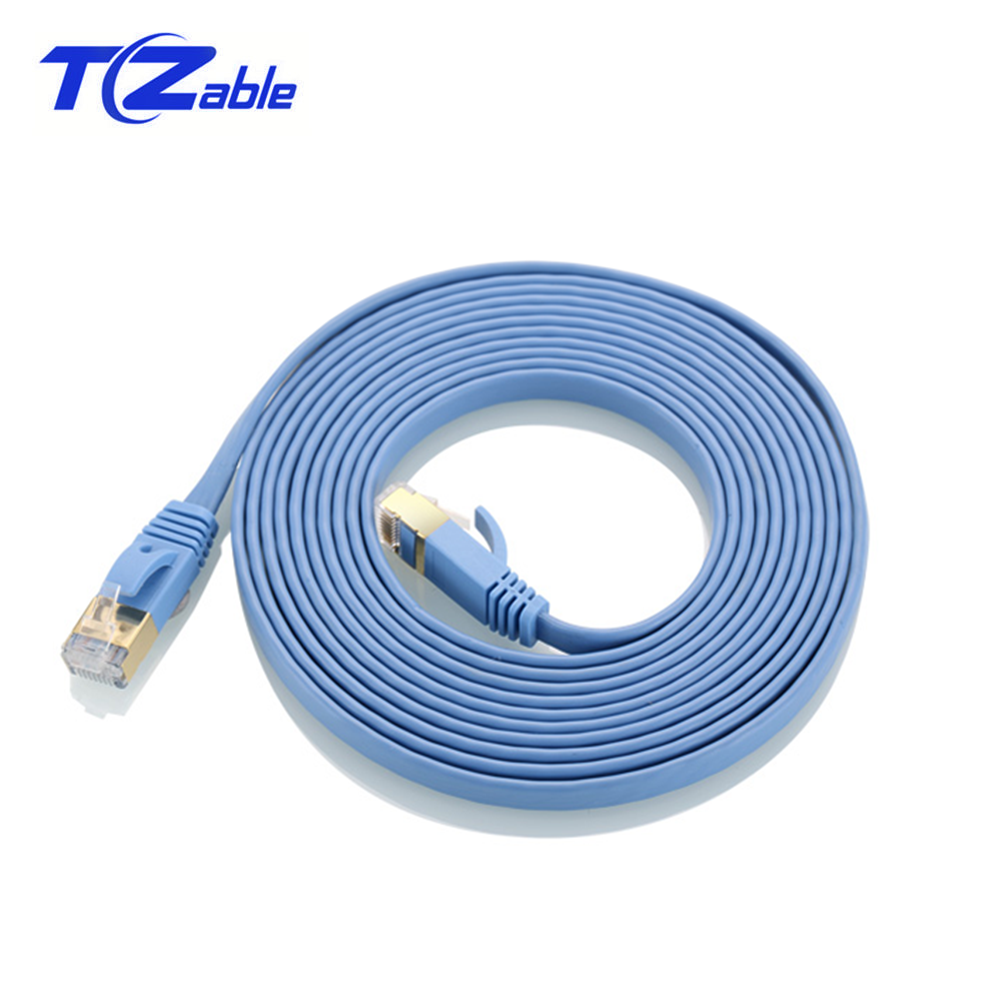 Cat.7 RJ45 Ethernet Flat Cable 10 Gigabit Computer Network Cable Cat7 Patch Cord Shielded RJ45 8p8c Connector For Modem Router