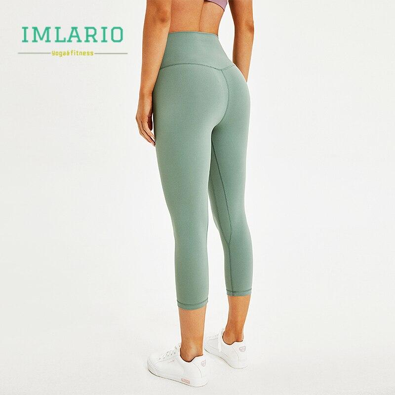 Imlario Essential Workout Crop Pants High Waist Women Cottony Soft Sports Fitness Capri Stretch Yoga Tights Running Leggin 7/8