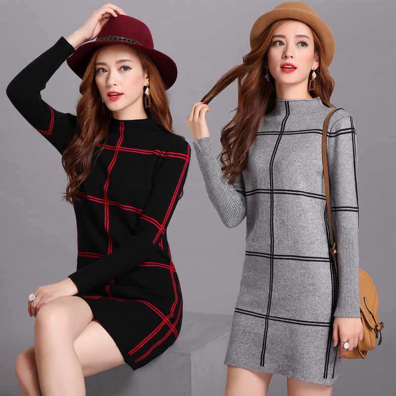 겨울을위한 메리 예쁜 스웨터 드레스 우아한 튜닉 격자 무늬 크리스마스 드레스 여성 절반 터틀넥 니트 스웨터 드레스 plue 크기
