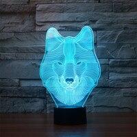 Wilk 3D Sypialnia Lampa LED Light Night 7 Kolor Ściemniania illusion Wakacje Światło Dziecko Dzieci Zabawki Dla Partii