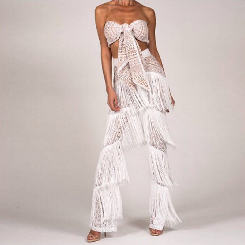470a87b03b18 Aliexpress.com   Buy white black fringe lace sexy rompers womens jumpsuit  strapless front tie tube top sleeveless club jumpsuit tassel overalls women  from ...