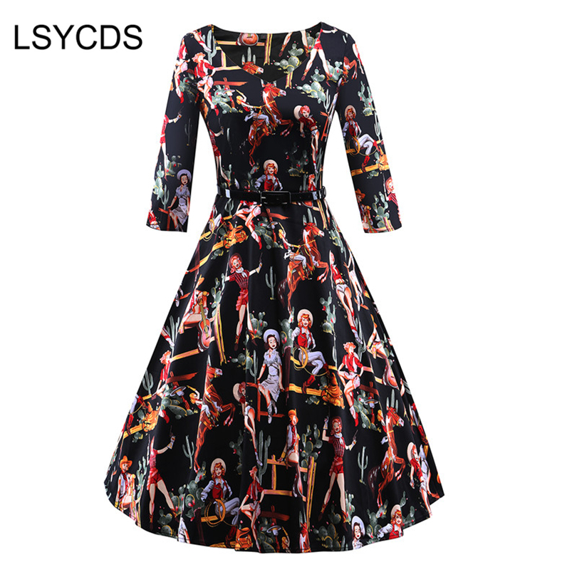 2018 Autumn Women Vintage Dress Sexy V Neck Long Sleeve Western Girl Print Slim Big Swing Red Pink Black Plus Size Dress S 3XL