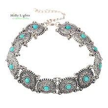 2017 femme Boho marble green Collar Choker vintage Silver Necklace antique Ethnic Bohemia sun black neck