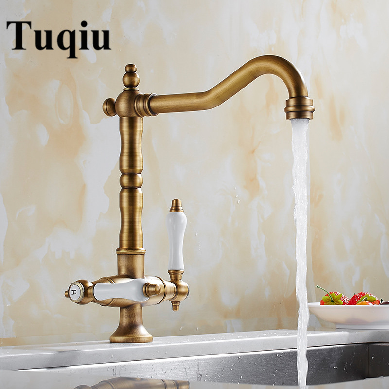 Antique/chrome kitchen faucet Dual Ceramic Handle swivel kitchen sink mixer luxury wash basin faucet Antique/chrome kitchen faucet Dual Ceramic Handle swivel kitchen sink mixer luxury wash basin faucet