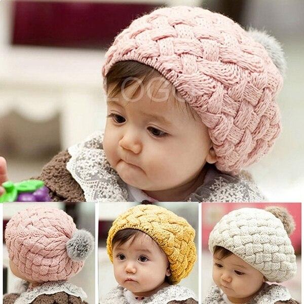 2019 Baskenmütze Mütze Herbst Winter Baby Kinder Kleinkind Super Warme Weiche Kappe Woolen 3 Farbe Gestrickte Mütze Hut Nette Für Mädchen/jungen