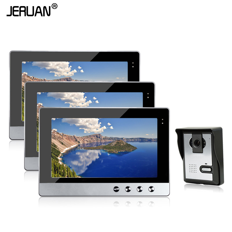 JERUAN New Wired 10 inch Color Video Door Phone Intercom System 3 Screens + 700TVL IR Night Outdoor Camera In Stock brand new wired 7 inch color video intercom door phone set system 2 monitor 1 waterproof outdoor camera in stock free shipping