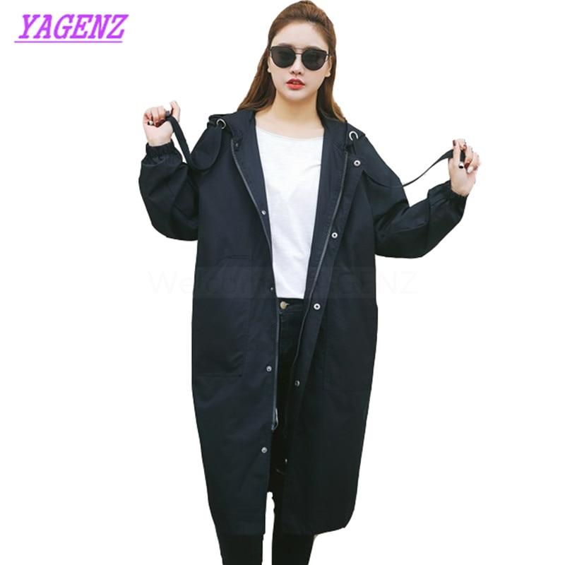 Plus size 3XL Autumn Winter Windbreaker coat Women Fashion Loose Long   Trench   coat Young Women Straight Hooded Gray Overcoat B290
