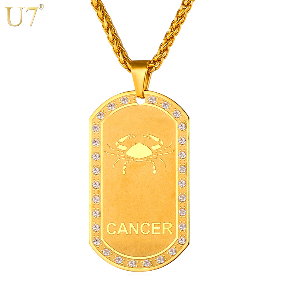 U7 Stainless Steel 12 Zodiac Signs Necklace For Men/Women Dog Tags Birthday Gift Gold Color Amulet Cancer Constellations P693