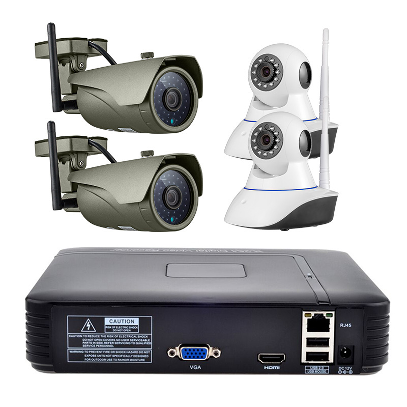 4CH Wireless NVR Kit 1080P HD Outdoor IP Video Security Camera System Waterproof IR Night Vision IP66 WIFI Surveillance System hbss 4ch 1 0m hd 2tb hdd poe ip66 waterproof motion detection 1280 720p ir night vision outdoor mult lang surveillance system
