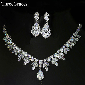Image 2 - ThreeGraces Top Quality American Bridal Accessories CZ Stone Wedding Costume Necklace and Earrings Jewelry Sets For Brides JS003