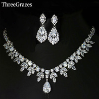 Top Quality American Bridal Accessories CZ Synthetic Diamond Wedding Costume Necklace And Earrings Jewelry Sets For