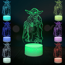 цена Cartoon Figure Master Leader Yoda 3D Lamp LED Night Light Luminaria USB Touch Multicolor Table Desk Mood Christmas Gift онлайн в 2017 году