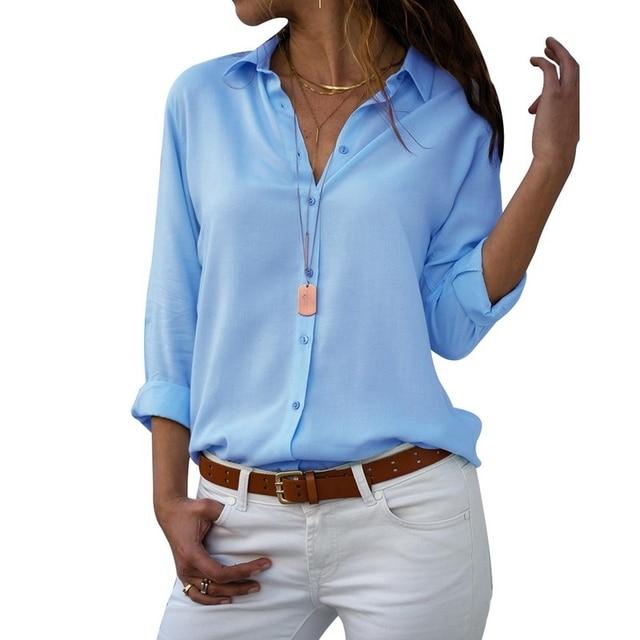 OEAK женский отложной Воротник Шифоновая Блузка 2019 однотонный длинный рукав кнопка рубашки осень Офисная Леди Элегантные Блузы Топы размер плюс