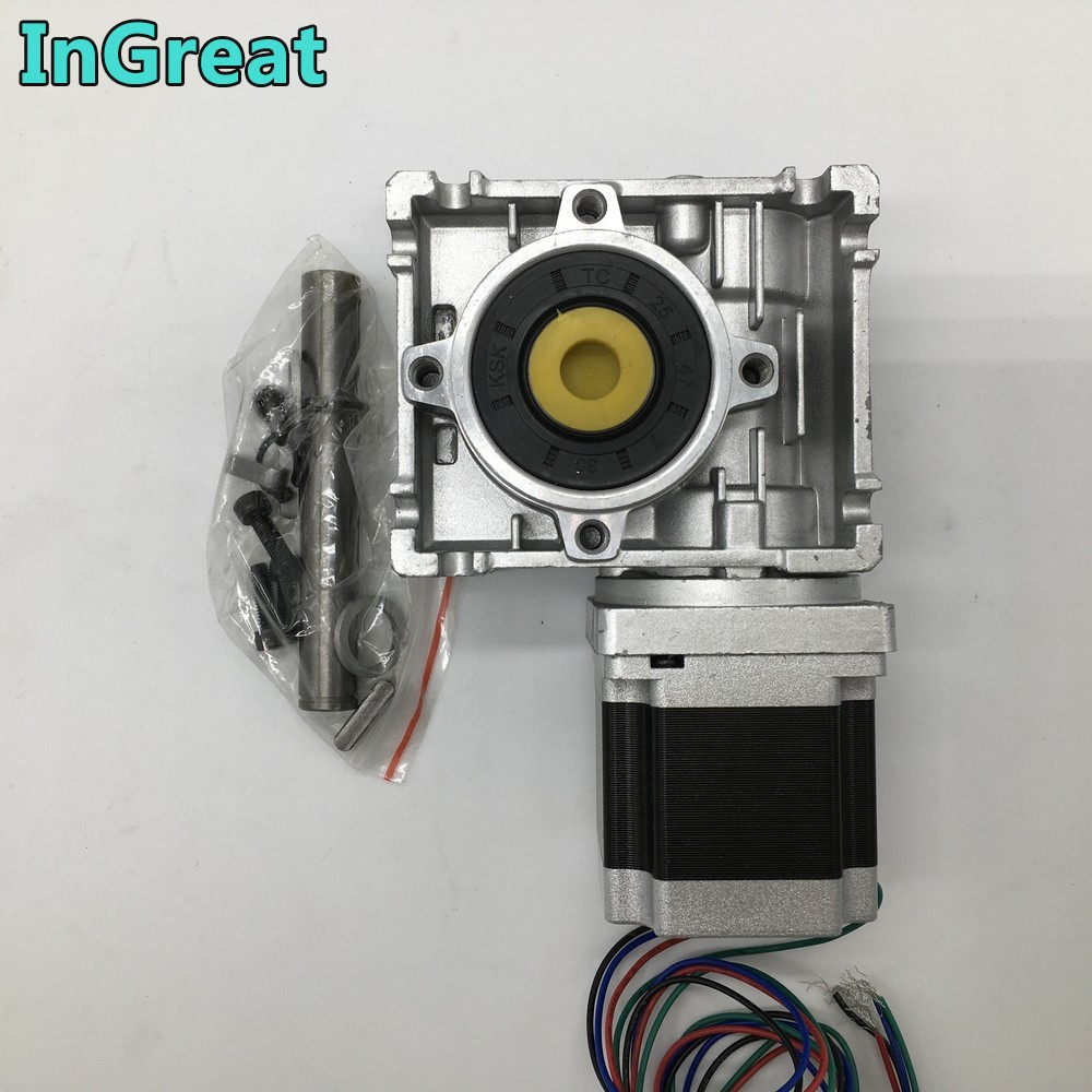 Nema23 moteur pas à pas avec réducteur à vis sans fin RV030 réducteur de vitesse 14mm sortie 3A 56 MM 1.2NM 172Oz-in Kit convertir 90 degrés pour routeur à CNC