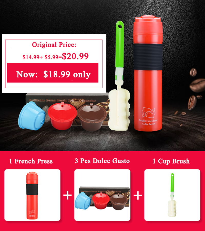 350ML Plastic Outdoor Coffee Plunger Portable French Press With Filter Travel Pot Support Custohize 3pcs