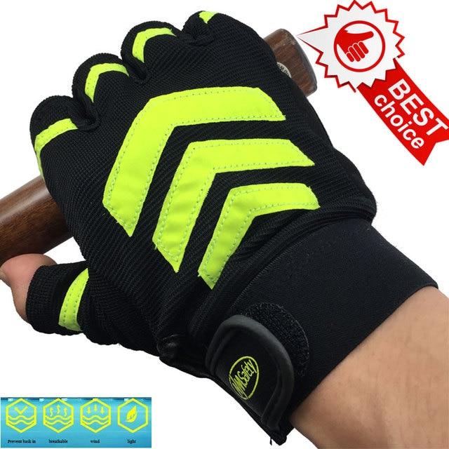 NMSAFETY Anti-slip Велоспорт Перчатки Гель Обивка Велосипедные Перчатки Спорт Половина Finger Спорт Перчатки luva фитнес guantes