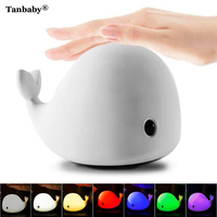 Tanbaby Cute Dolphin USB Rechargeable Children Night Light Baby Whale Multicolor LED Light Silicone Pat Lamp