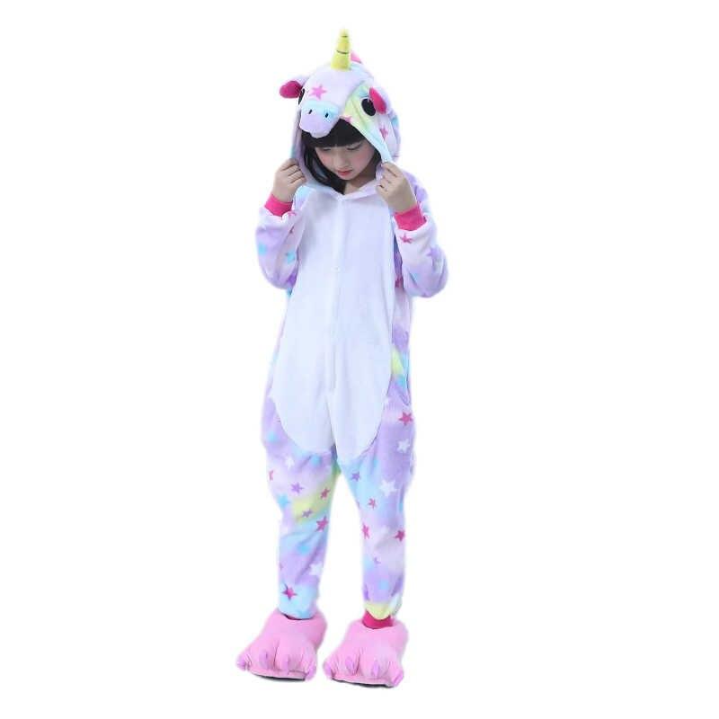 ... EOICIOI дети животных звезды единорог пижамы для обувь мальчиков  девочек Фланель мультфильм косплэй детская одежда сна ... 81fa122e16c1c