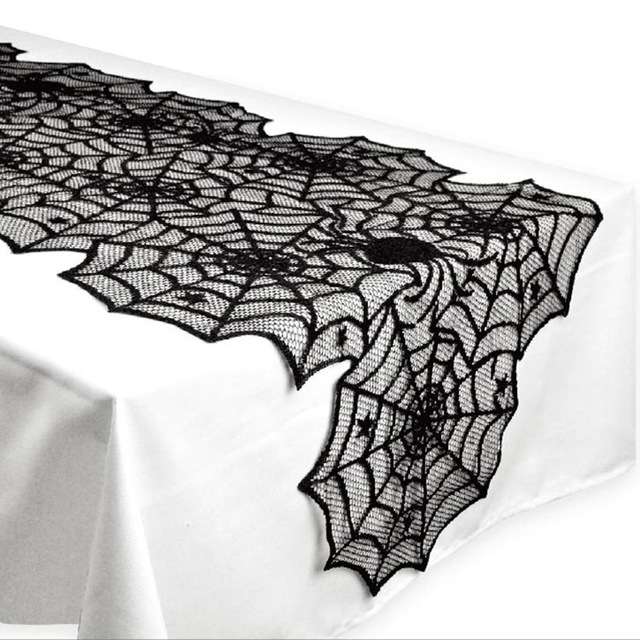 1pcs 18X72inch Halloween Table Decoration Event Party Supplies Halloween Spider  Web Table Runner Black Lace Tablecloth
