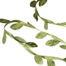 10M 15*8mm Silk Wreath Green Leaf Iron Wire Artificial Flower Vine In Rattan for The Car Decoration DIY Wedding