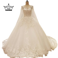 High end White Low Back Wedding Dresses with Shawl Beaded Sequins Lace Ball Gown Floor Length Bridal Gowns Robe De Mariage