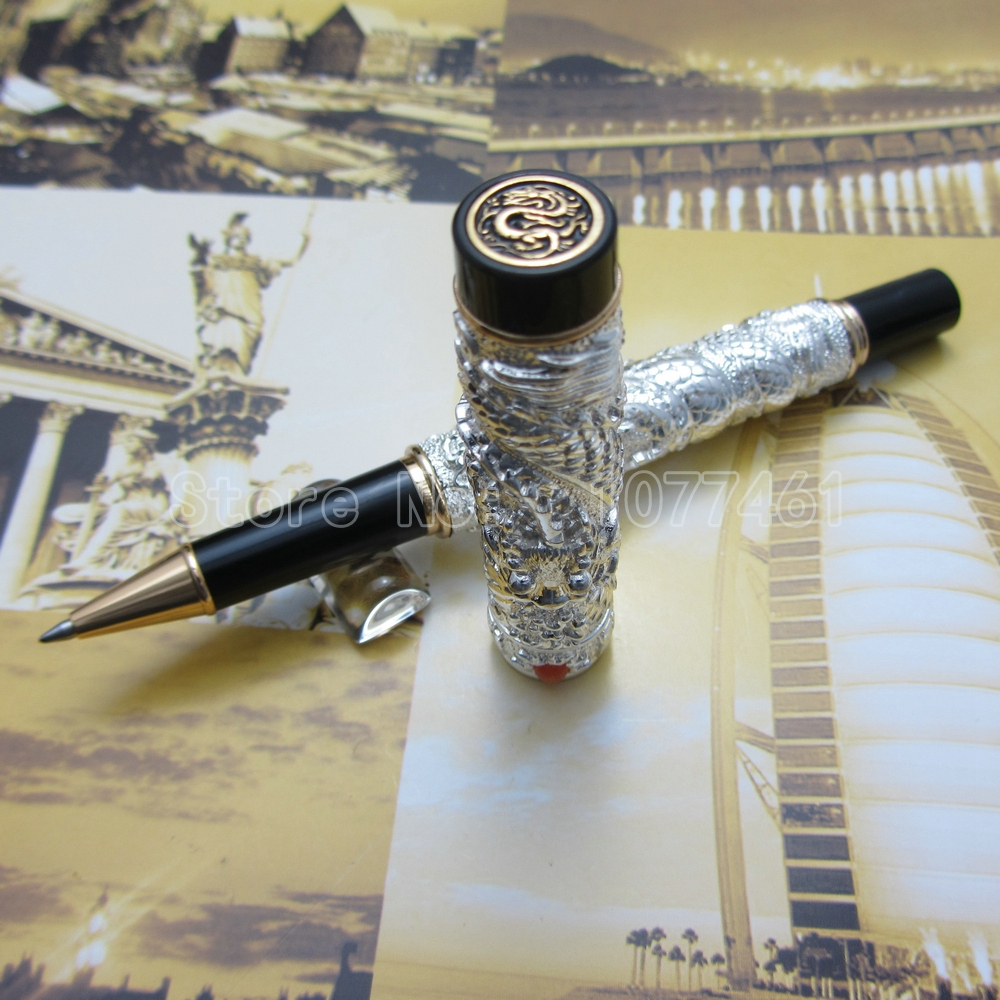Jinhao Chinese double Dragons Playing With The Pearl Beautiful Advanced Ballpoint Pen with Gift Box Gold Silver Optional J59F1 jinhao ancient dragon playing pearl roller ball pen with jewelry on top with original box free shipping