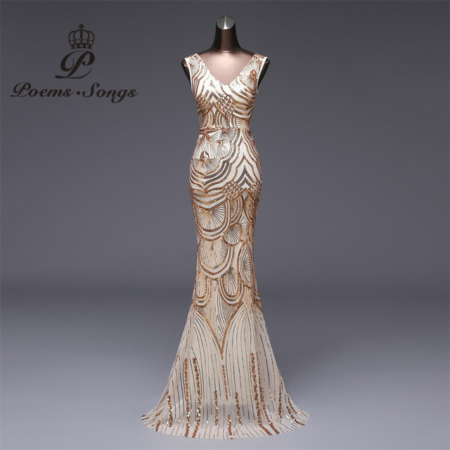 Poems Songs 2018 New V-neck Evening Dress vestido de festa Formal party  dress Luxury Long Sequin robe longue prom gowns 8a80e6539d34