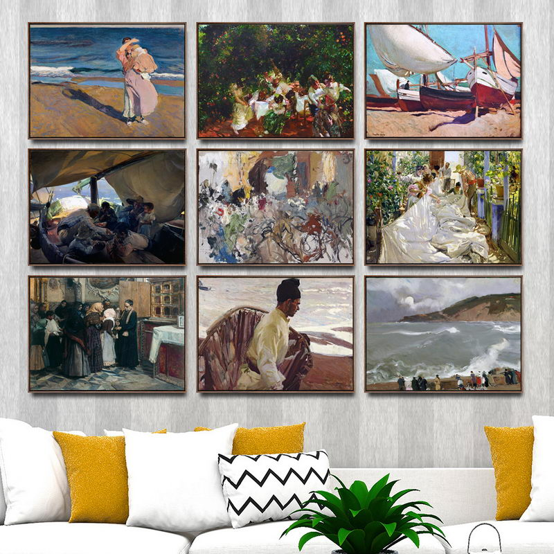 Scenery Painting Modular Picture Watercolor Nordic-Poster Canvas Wall-Art Printed Spanish