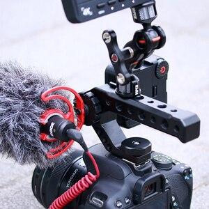 Image 5 - Alüminyum DSLR En Kolu Kavrama w 3 Soğuk Ayakkabı Mounts için 1/4 3/8 Monitör Mikrofon Video Işığı sony A6400 6300 Nikon Canon