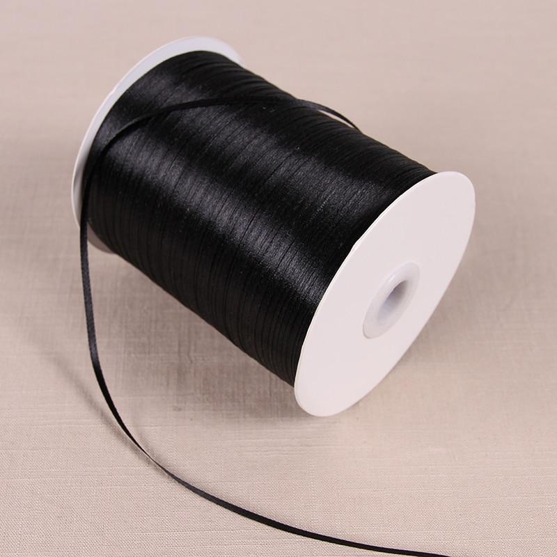 3 мм атласные ленты 22 м/лот DIY ручной работы товары для украшения свадьбы, дня рождения Подарочная упаковка белые ленты - Цвет: Черный