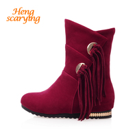 2018 Women Snow Boots Winter Autumn Suede Mid Calf Fringe Flats High Slip On Boots Female Ladies Dress Red Tan Black Short Shoes