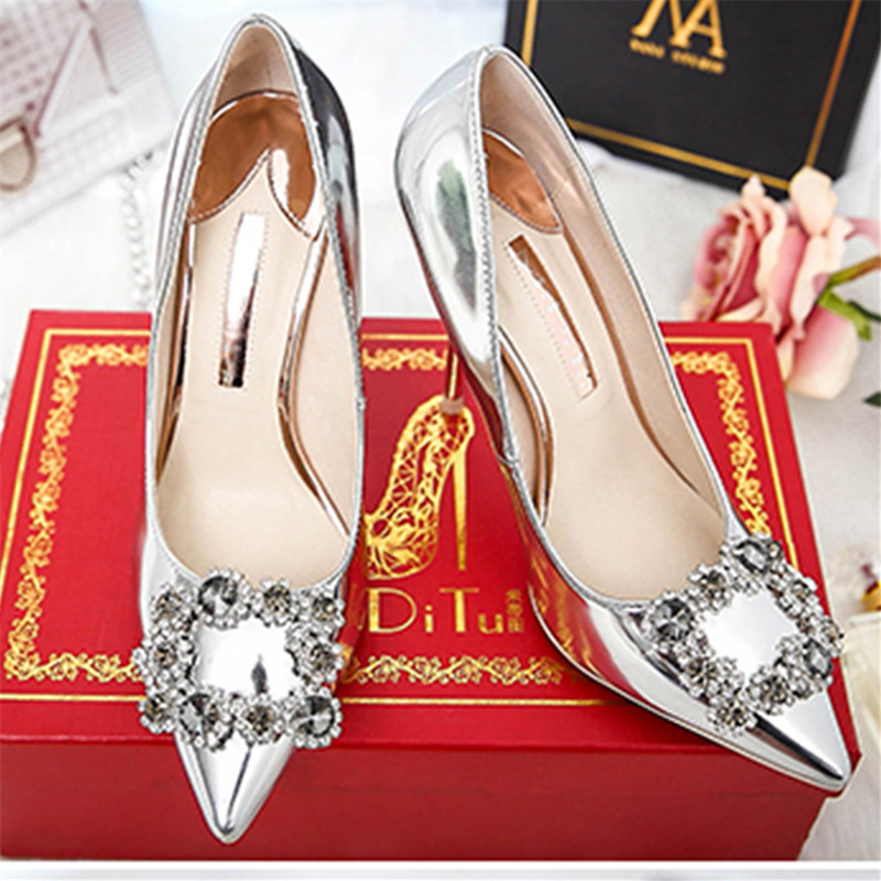 ФОТО High Heels Women Shoes Crystal Pumps Women Wedding Shoes Party Spring Autum Sapatos Ladies Zapatos Mujer Gladiator Thin Heels