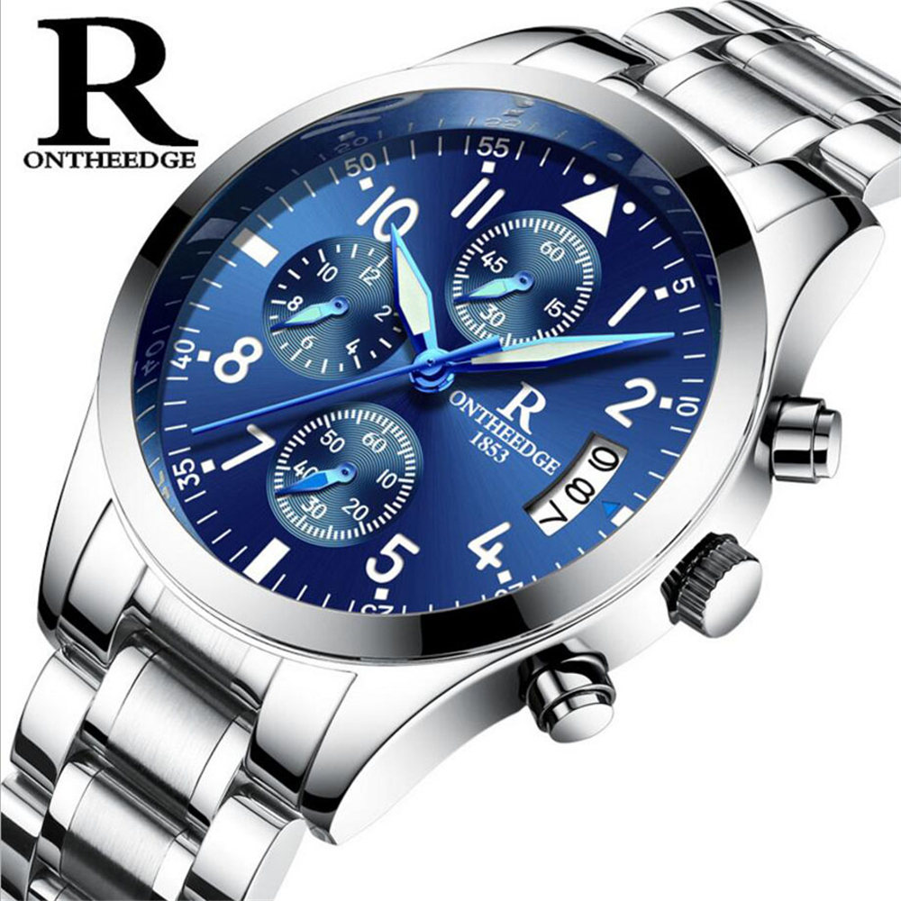 Top Brand Business Quartz Watches Men Stainless Steel Band 30m Waterproof Luminous Mens Quartz-Watch Male Wrist watches orologio купить недорого в Москве