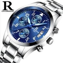 Лидирующий бренд Бизнес Montres à Quartz мужчин Нержавеющая сталь Группа 30 м Водонепроницаемый светящиеся Мужские кварцевые часы мужские наручные часы Orologio