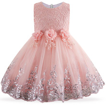 2017 Elegant Lace sequins Formal Girls Christmas Party Dresses Girl Toddler Birthday Party Costume 3-12 year Clothing