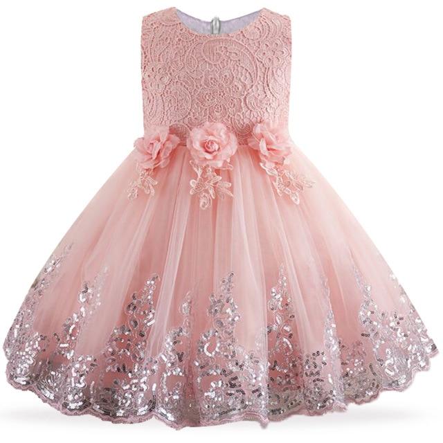 2020 Kids Girls Dresses Lace Sequins First Communion DressFlower Girls Children Clothing Birthday Party Event Prom Dress 2-10yrs