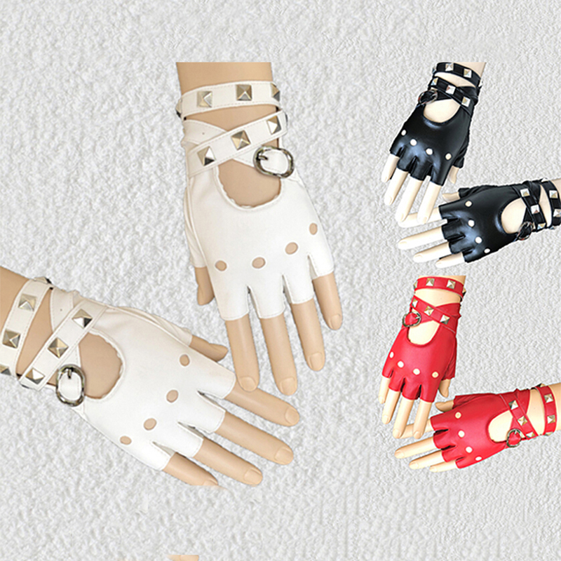 Unisex Fingerless Driving PU Leather Gloves Black Red White Motor Punk Cool Rivet Sexy Disco Dancing Rock-and-roll