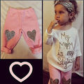 0-5Y Long Sleeve Baby Kids Girls HEART Outfits Clothes Children Girl Mom Stylish Top T-Shirt + Pants Outfit Sets Clothing