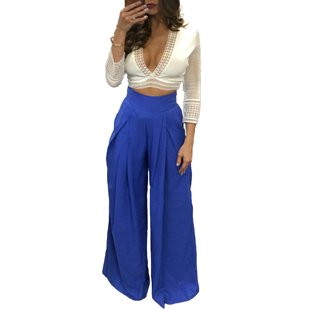 Image 2 - Women Harem Pants Solid Color High Waist Loose Wide Leg Pants Pockets Casual Palazzo Baggy Clubwear Trousers 2019 Pantalon Femme-in Pants & Capris from Women's Clothing