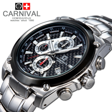 Carnival chronograph militly quartz male cease watch full metal massive dial waterproof 100m diving sports activities males watches luxurious model