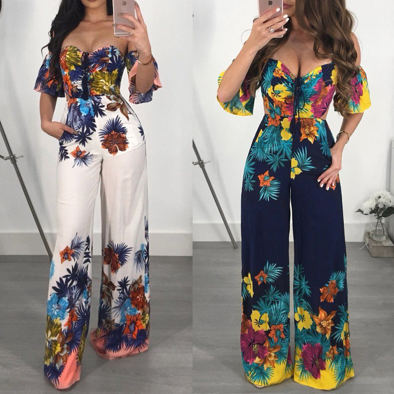 Sexy Women Jumpsuit Off Shoulder Clubwear Playsuit Casual Short Sleeve Sexy Ladies Party Jumpsuit Flower Romper