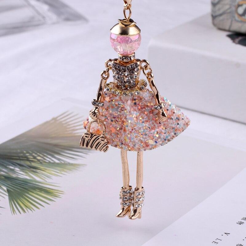 Новинка, женское Кукольное ожерелье с длинной цепочкой, блестящее платье, подвеска ручной работы для девушек, макси ожерелья и подвески, бре...