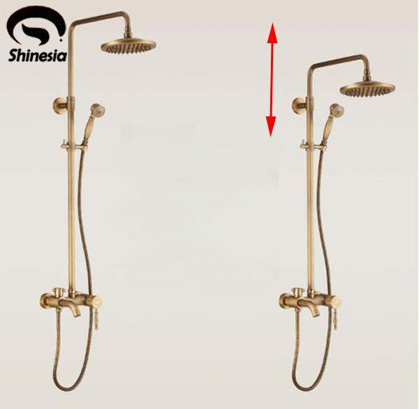 Antique Brass Bathroom Rain Shower Set Faucet  Wall Mount Mixer Tap with Handheld Shower Head luxury bathroom brass ceramic antique shower faucet set single handle wall mount exposed rainfall shower mixer tap