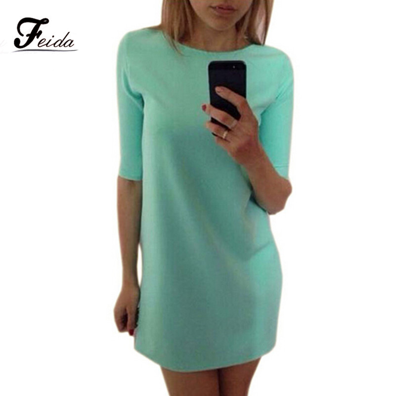 0fca3faeff81f Summer Dress 2017 Robe Femme Women Ladies Fashion Mint Green Half Sleeve  Loose Dress Clothes Fashion Brand Office Dress