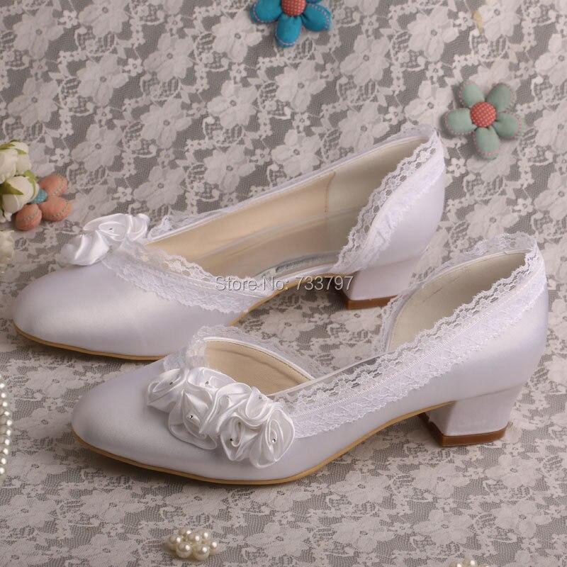 ФОТО (4 Colors)Custom Handmade White Flower Bridesmaid Shoes Women Low Chunky Heel