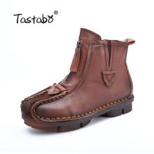 Tastabo Véritable Cheville En Cuir Bottes de Velours À La Main Lady souple Plat chaussures confortables Casual Mocassins Femmes de chaussures